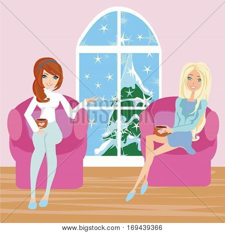women talking over a cup of coffee , vector illustration