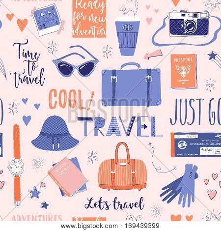 Vector seamless pattern on the theme of travel vacation adventure. Retro 50's style. Handdrawn lettering. Suitcase camera clothes and other stuff. Doodles.