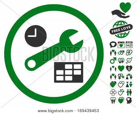 Date And Time Setup pictograph with bonus amour graphic icons. Vector illustration style is flat rounded iconic green and gray symbols on white background.