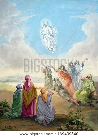 KRASIC, CROATIA - JUNE 11: Transfiguration of Christ fresco in parish church of the Holy Trinity in Krasic, Croatia on June 11, 2016