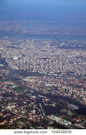 BELGRADE, SERBIA - FEBRUARY 06: Aerial view of Belgrade, capital of Serbia, on February 06, 2016.