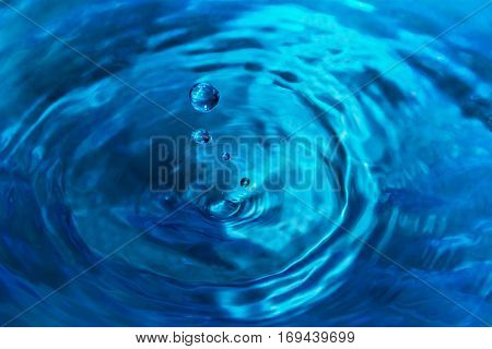 beautiful texture of water dropsin blue color