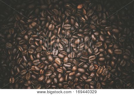Arabica Coffee Beans Photo Background. Cafe and Coffee Backdrop.