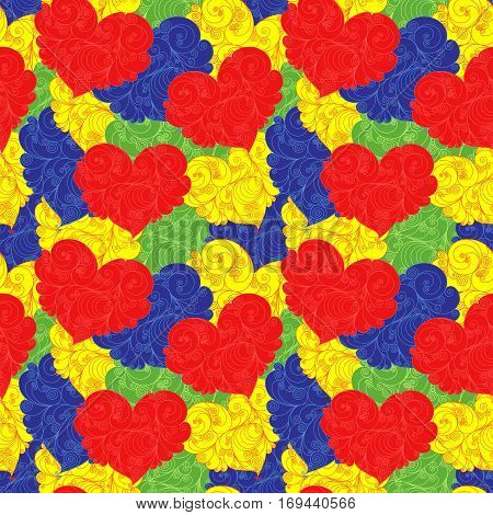 Bright multicolour seamless floral pattern with heart shapes as a wrapper Valentine vector illustration