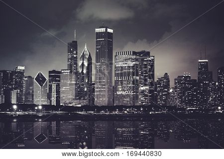 Chicago Night Time Skyline Photo with Michigan Lake Reflection. Chicago Illinois.