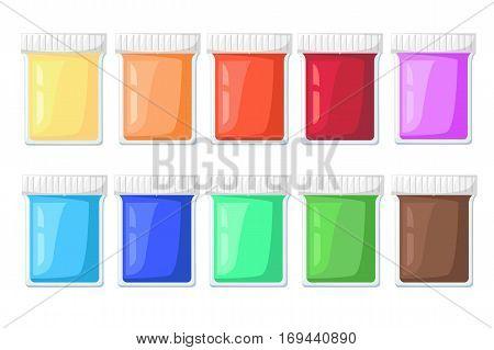Paint Tubes Set Vector Illustration Cartoon Art materials icons set easel paint palette.