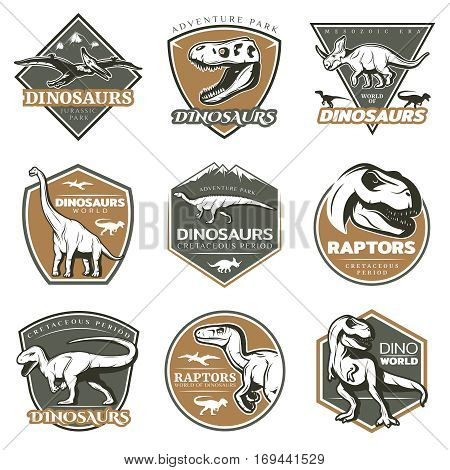 Colorful vintage dinosaur labels with ancient gigantic herbivore carnivore creatures and skulls isolated vector illustration