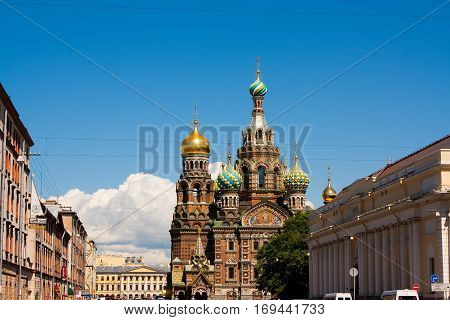 The church by the canal. White nights Saint-Petersburg Russia. Night view of Griboyedov Canal and Church of the Savior on Blood.