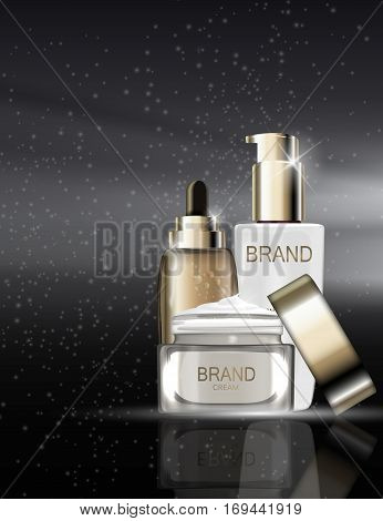 Skin Toner, Face Cream and Oil Essence Hydrating Concentrate  Bottle Tube Template for Ads or Magazine Background. 3D Realistic Vector Iillustration. EPS10