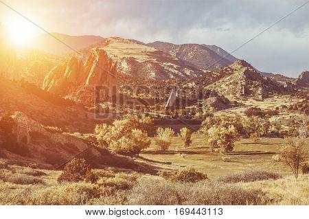 Scenic Colorado Landscape. Garden of the Gods Park Sunset in Colorado Springs.