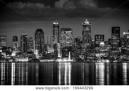 Seattle Night in Black and White. Seattle Skyline Panorama During Night Hours.