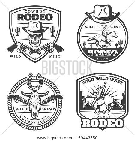 Monochrome vintage rodeo emblems set with cowboy riding horse weapon skull bull head and horseshoe isolated vector illustration