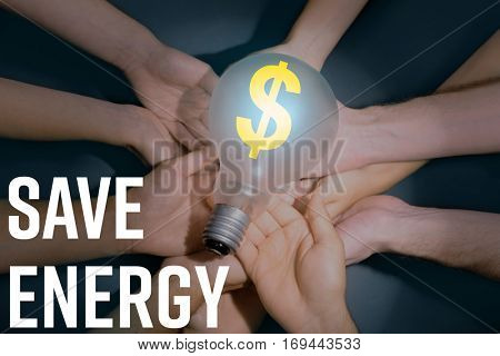 People hands with light bulb. Text SAVE ENERGY on background