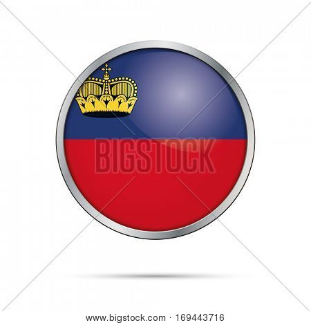 Principality of Liechtenstein flag glass button style with metal frame vector.