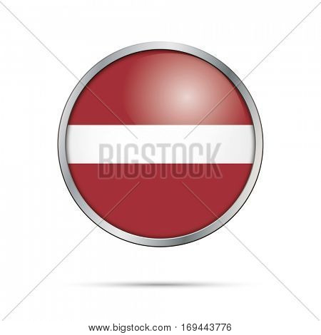 Vector Latvian flag Button. Latvia flag glass button style with metal frame.