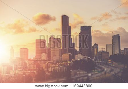 Sunny Summer in the City of Seattle Washington USA. Sunny Warm Color Grading. Seattle Skyline During Sunset.