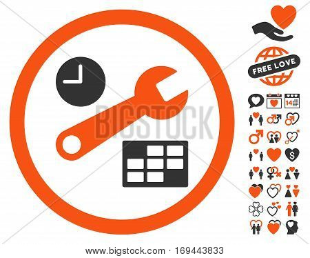 Date And Time Setup icon with bonus valentine symbols. Vector illustration style is flat rounded iconic orange and gray symbols on white background.