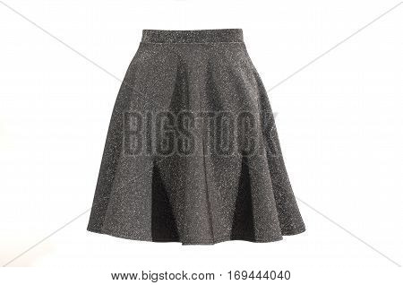 Gray sparkly skirt isolated on white background. Festive short silver skirt  cut out on white.