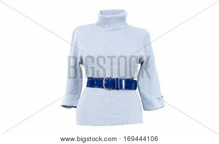 Blue and silver turtle neck blouse with a matching belt isolated on white background. Winter blue sparkly woman sweater blouse cut out on white.