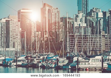 Vancouver Marina and the Cityscape. City of Vancouver Canada.