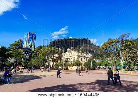 Bogota Colombia - April 21: Unidentified people walk through the Parque de Los Periodistas on April 21 2016 in Bogota Colombia.