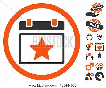 Favourites Day icon with bonus passion clip art. Vector illustration style is flat rounded iconic orange and gray symbols on white background.
