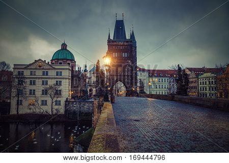 Famous landmark Charles Bridge (Karluv Most) and Lesser Town Tower, Prague, Czech Republic