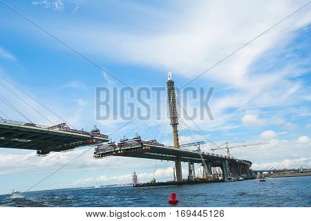 The partially finished cable - stayed bridge