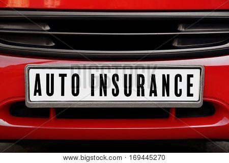 Car insurance concept. Car plate number, closeup