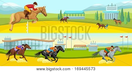 Equestrian sport cartoon horizontal banners with training and running horses with jockeys vector illustration
