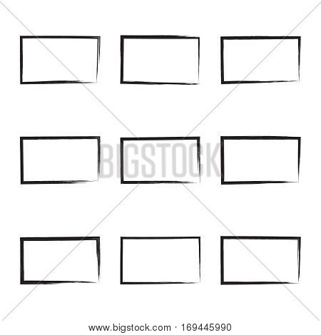 Set hand drawn rectangle, photo, foto frame. Text box from smears. Vector Black stroke border felt-tip pen objects.