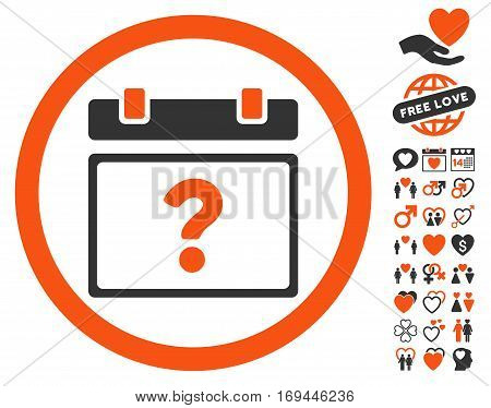 Unknown Date pictograph with bonus romantic clip art. Vector illustration style is flat rounded iconic orange and gray symbols on white background.