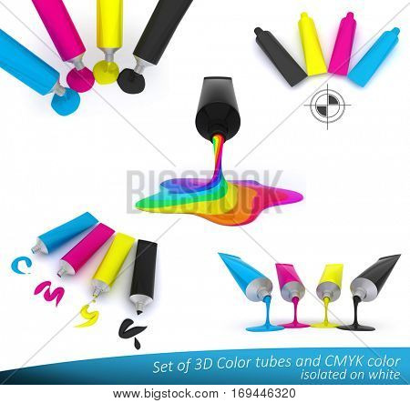 Set of 3D illustrations of tubes with paint in cmyk colors. Ideal presentation for graphic and printing industry. High quality 3D model isolated on white.