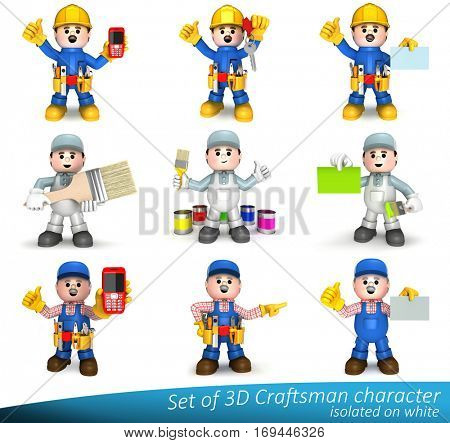 Set of 3D characters of a craftsman in various construction jobs. Fully equipped craftsman mascot. Mascots can be used as great presentation of construction craft and handyman companies.