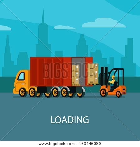 Logistic warehouse template with forklift driver loading truck before goods delivery vector illustration
