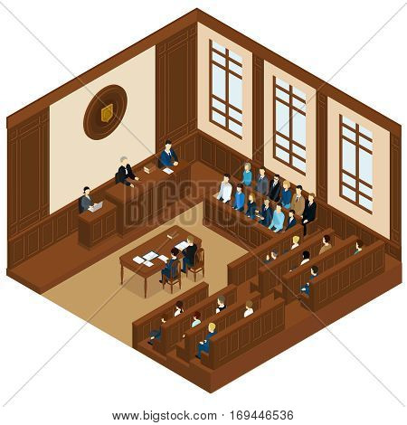 Court session isometric template with judge defendant attorney jury and witnesses vector illustration