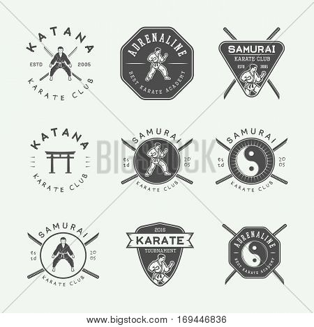 Set of vintage karate or martial arts logo emblem badge label and design elements in retro style. Vector illustration. Monochrome Graphic Art.