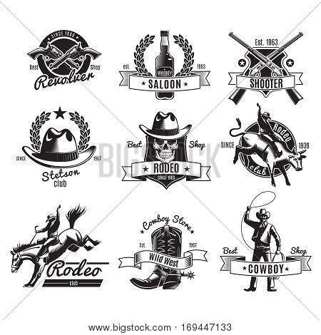 Vintage rodeo black labels with wild west elements for store club or saloon design isolated vector illustration