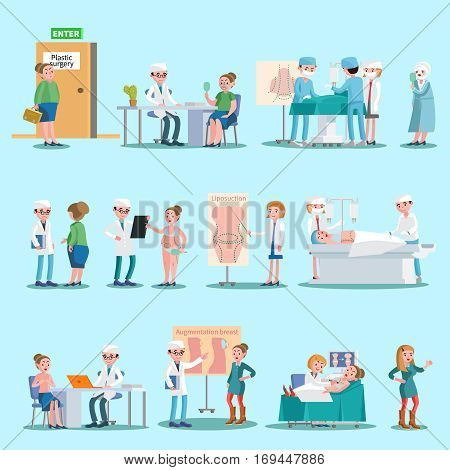 Plastic surgery elements set with doctors patients liposuction augmentation breast and face correction procedures isolated vector illustration