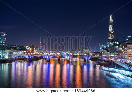 River Thames in central London looking towards Tower Bridge and London Bridge.