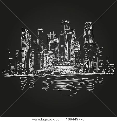 January 04, 2017: Singapore skyline at night, Hand drawn vector white sketch on black background