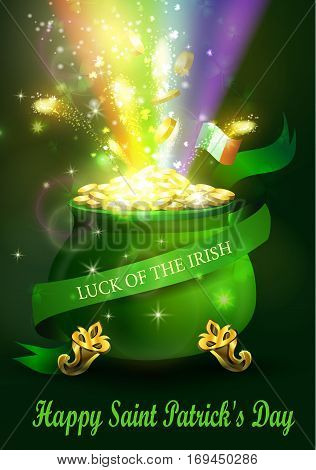 St. Patrick s Day symbol green pot full of gold coins and fireworks rainbow and ribbon Vector illustration