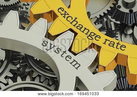 exchange rate system concept on the gearwheels 3D rendering