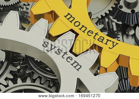 monetary system concept on the gearwheels 3D rendering