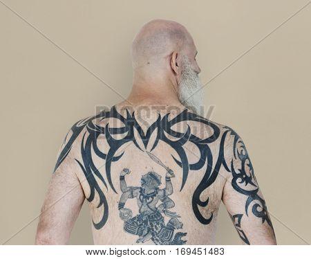 Senior Adult Man Rear View Hanuman Tattoo Spiritual Arts