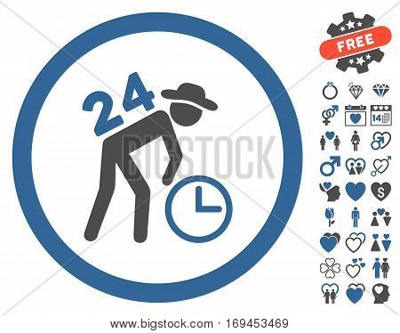 Around The Clock Work icon with bonus passion pictures. Vector illustration style is flat rounded iconic cobalt and gray symbols on white background.