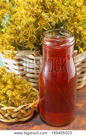 Saint Johns Wort Oil And Dried Flowers