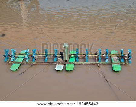 Water turbines (hydraulic turbine) on fish ponds.