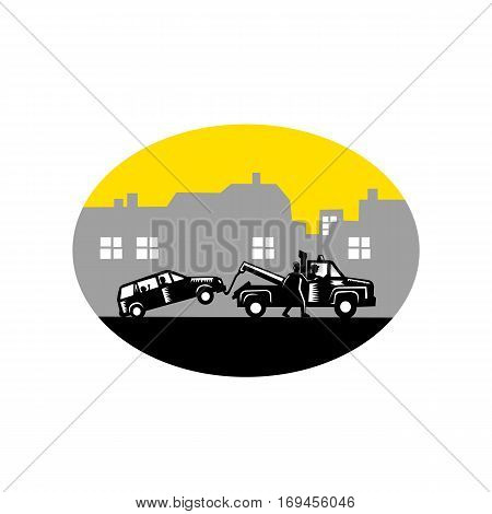 Illustration of car being towed away with passengers inside while man tries to stop tow truck driver with buildings in background set inside oval shape done in retro woodcut style.