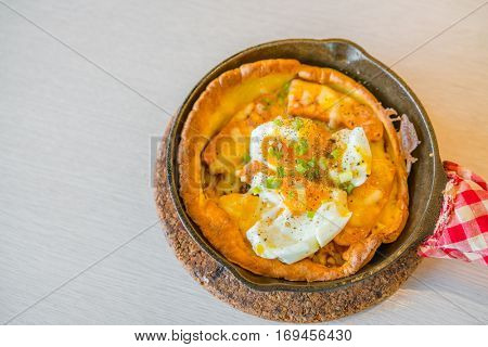 Hot Pizza with egg for breakfast